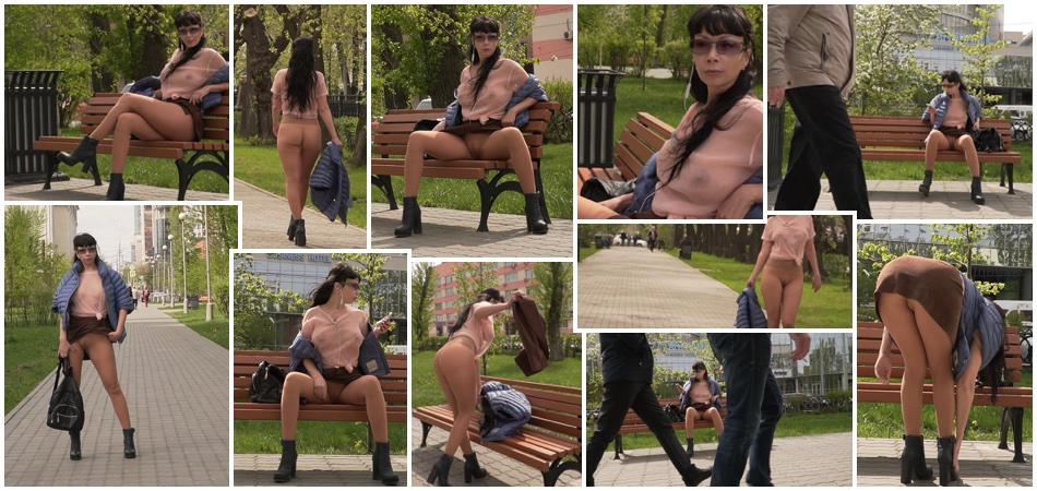 Transparent blouse and pantyhose in public