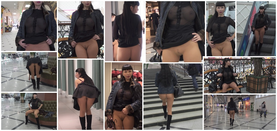Seamless pantyhose flashing in the mall