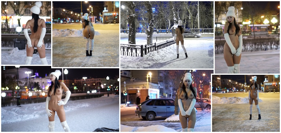 The winter night. Nude in the city