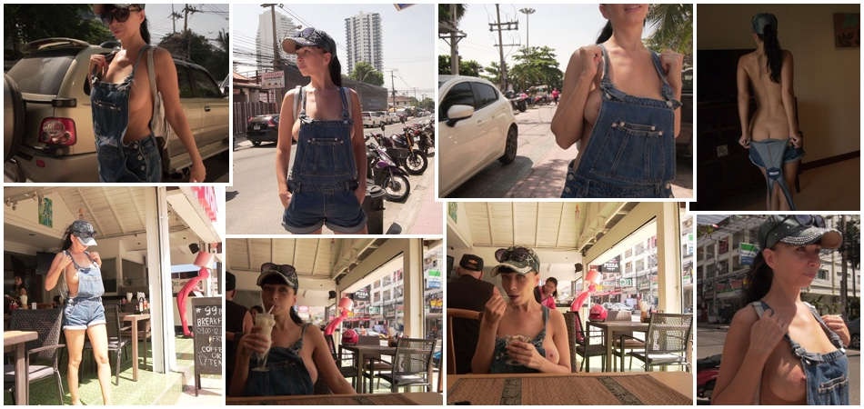 The denim overalls with no top